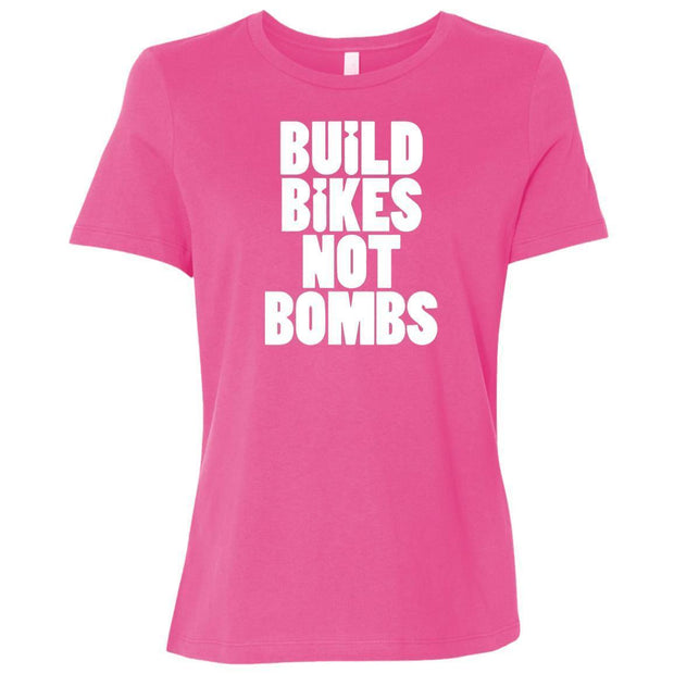 Women's Build Bikes Not Bombs Relaxed Fit T-Shirt By CustomCat