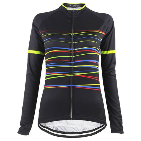 Women's Color Line Black Long Sleeve Cycling Jersey By Online Cycling Gear