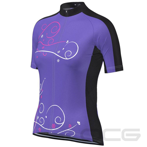 Women's Floral Swirl Short Sleeve Cycling Jersey By Online Cycling Gear