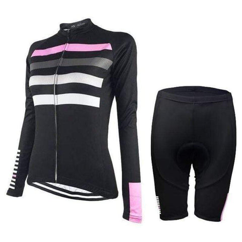 Women's Four Stripe Long Sleeve Cycling Kit By Online Cycling Gear
