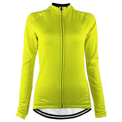 Women's High Viz Fleeced Long Sleeve Cycling Jersey By Online Cycling Gear
