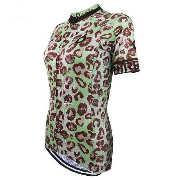 Women's Leopard Skin Green Cycling Jersey By Online Cycling Gear
