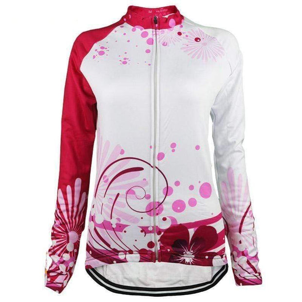 Women's Pink Floral Long Sleeve Cycling Jersey By Online Cycling Gear