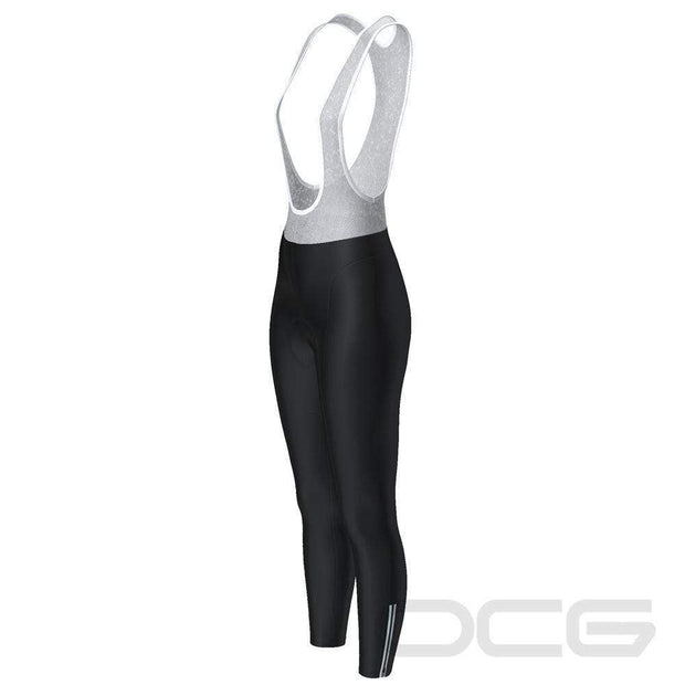 Women's Plain Black Full-Length Cycling Bib Tights By Online Cycling Gear