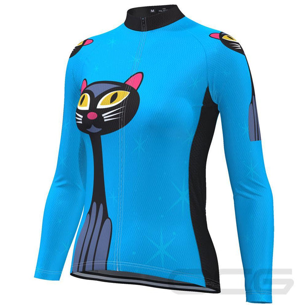 Women's Starry Night Cat Long Sleeve Cycling Jersey By Online Cycling Gear