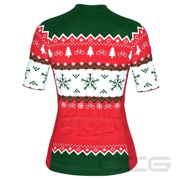 Women's Ugly Christmas Sweater Short Sleeve Cycling Jersey By Online Cycling Gear