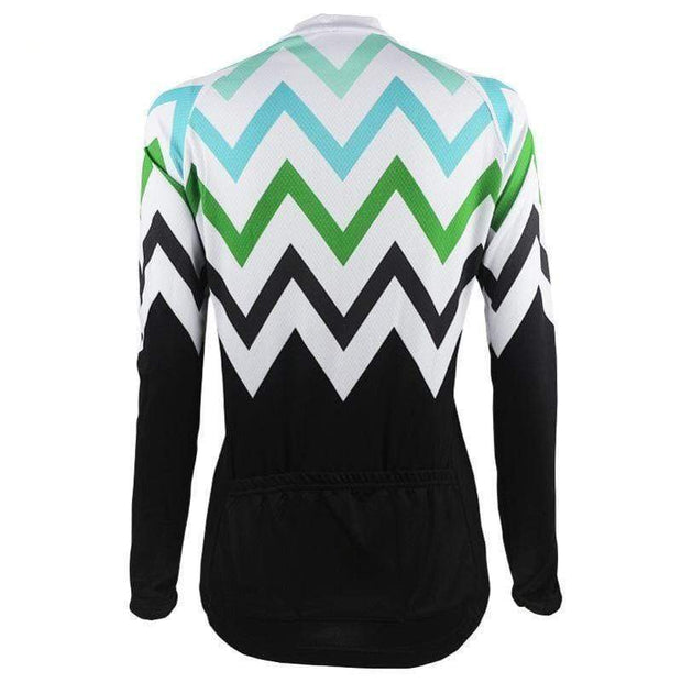 Women's Zigzag Mountain Long Sleeve Cycling Jersey By Online Cycling Gear