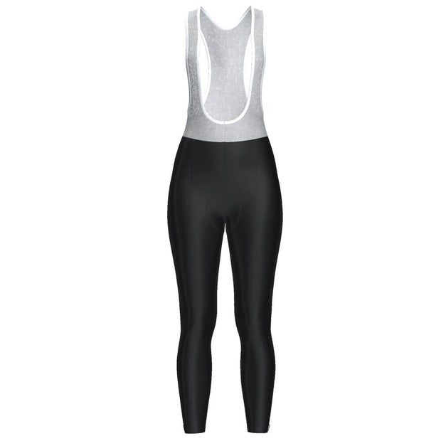 Women's Plain Black Full-Length Cycling Bib Tights