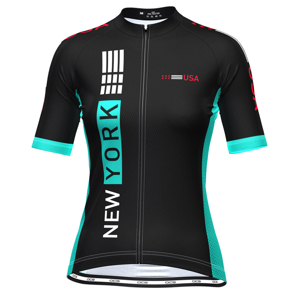 Women's New York USA Techno Short Sleeve Cycling Jersey
