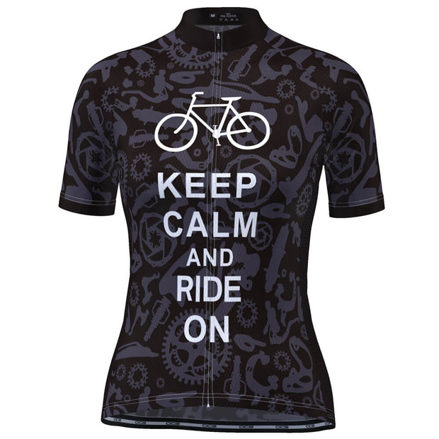 Women's Keep Calm and Ride On Short Sleeve Cycling Jersey