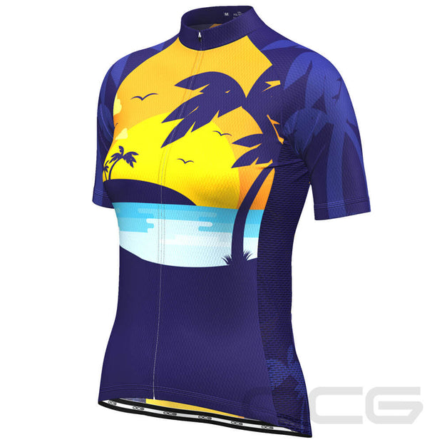 Women's Tropical Paradise Palm Tree Sunset Cycling Jersey