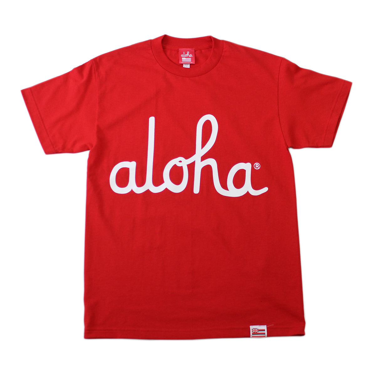 ALOHA ARMY - ALOHA SCRIPT TEE (RED/WHITE)