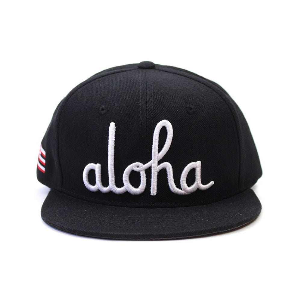 ALOHA SCRIPT SNAP BACK (BLACK/WHITE)