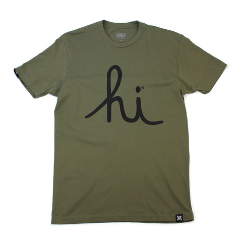 IN4MATION  - HI SCRIPT TEE (MILITARY GREEN / BLACK)