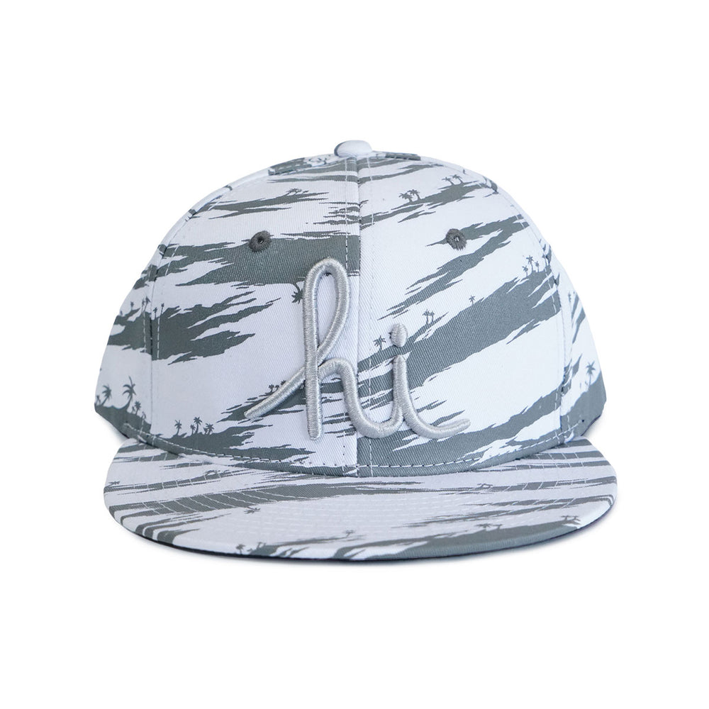 TIGER PALM CAMO SNAPBACK (WHITE/GREY)