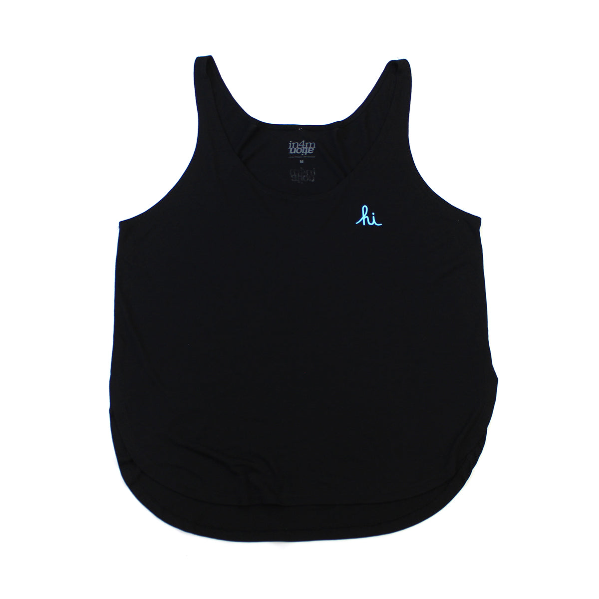 IN4MGIRLS - WOMENS MINI HI TANK TOP (BLK/BABY BLUE)