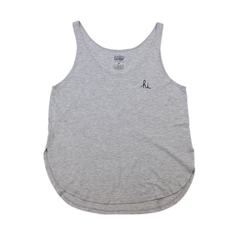 IN4MGIRLS - WOMENS MINI HI TANK TOP (ATHLETIC HEATHER / BLACK)