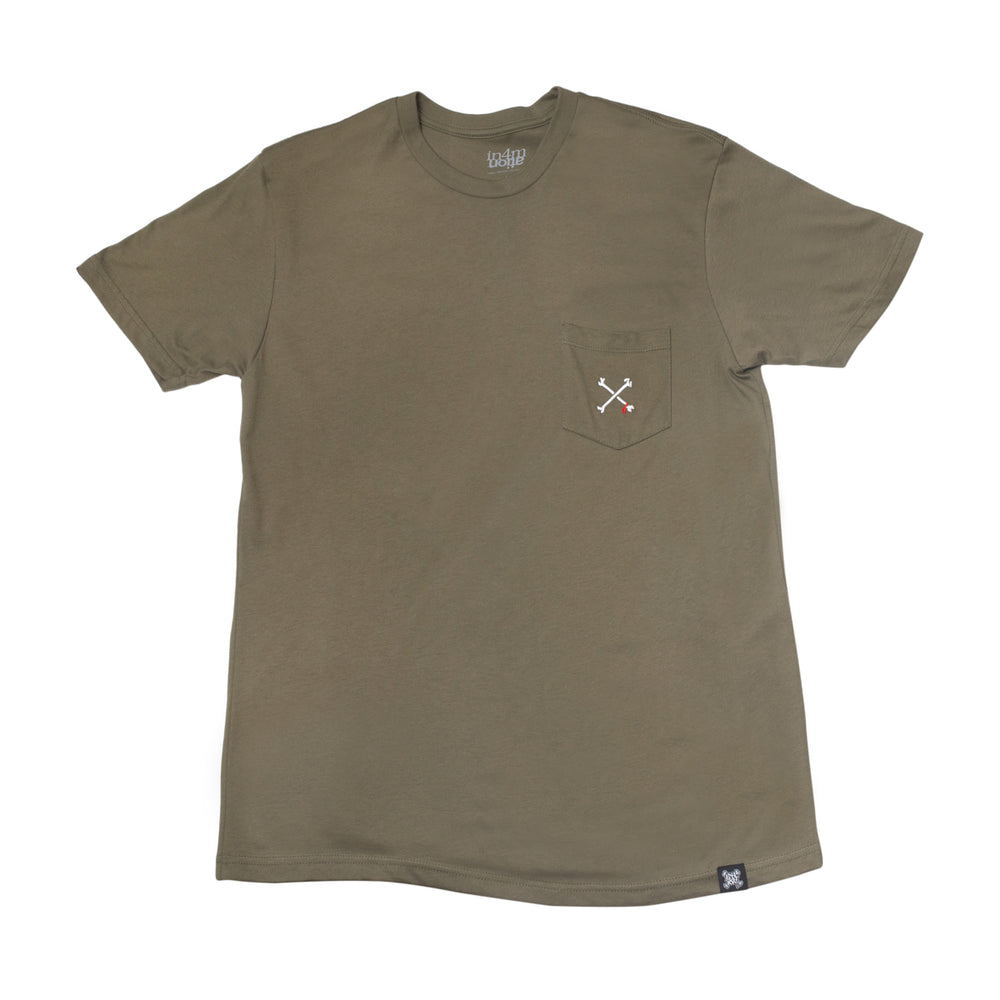 CROSSBONES EMBROIDERED POCKET (OLIVE)
