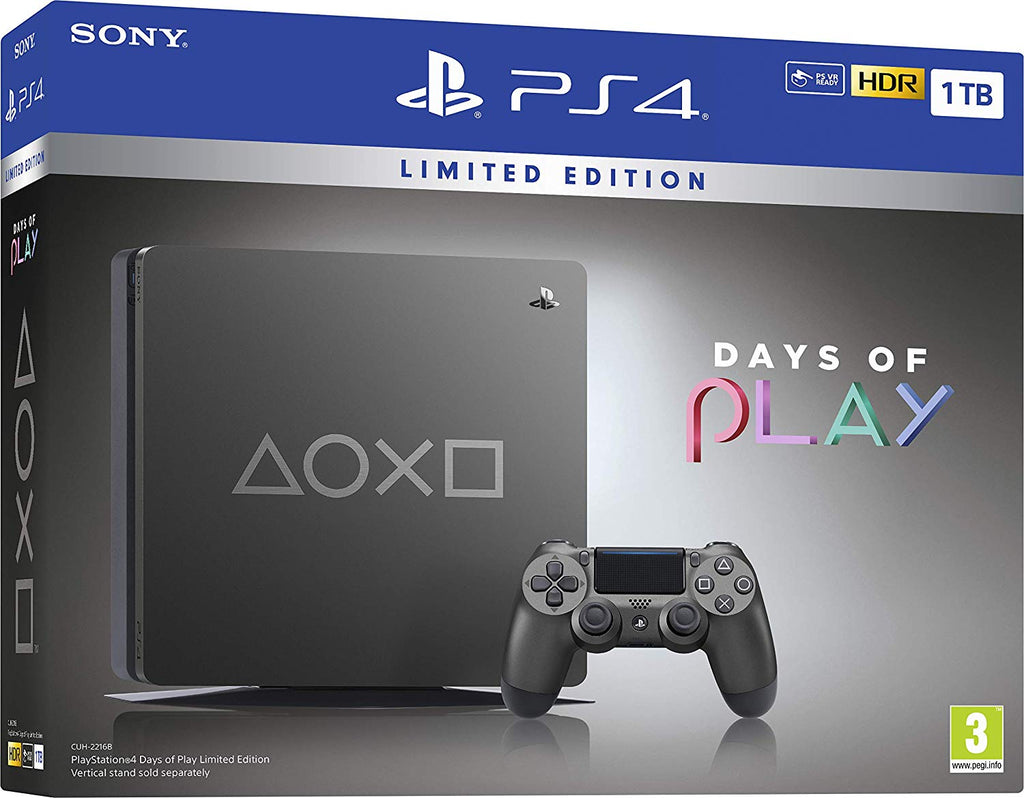 Sony PlayStation 4 1TB Limited Edition Days of Play Console - Steel Black w/ Detroit Become Human