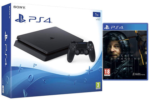 Sony PS4 1TB Slim Console - Black w/ Death Stranding & Extra Dualshock Controller