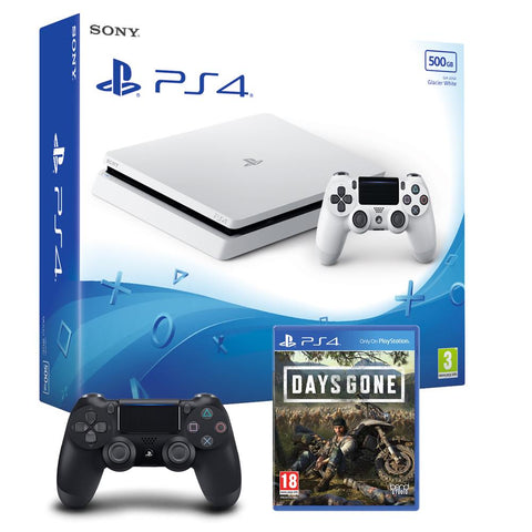 PS4 500gb Slim Console - White w/ Days Gone & Extra Dualshock Controller