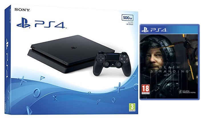 Sony PS4 500GB Slim Console - Black w/ Death Stranding & Extra Dualshock Controller