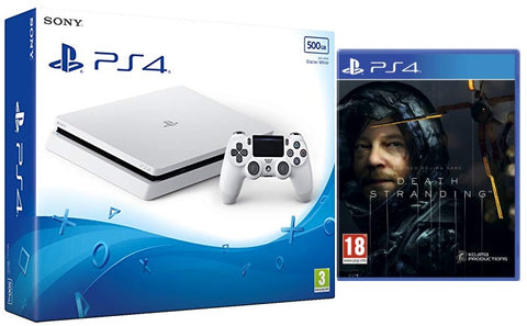 Sony PS4 500GB Slim Console - White w/ Death Stranding & Extra Dualshock Controller
