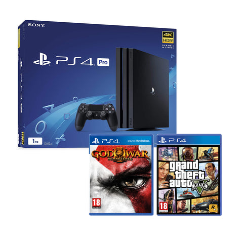 Sony PlayStation 500GB Black Console w/ GTA V & God of War 3 Remastered