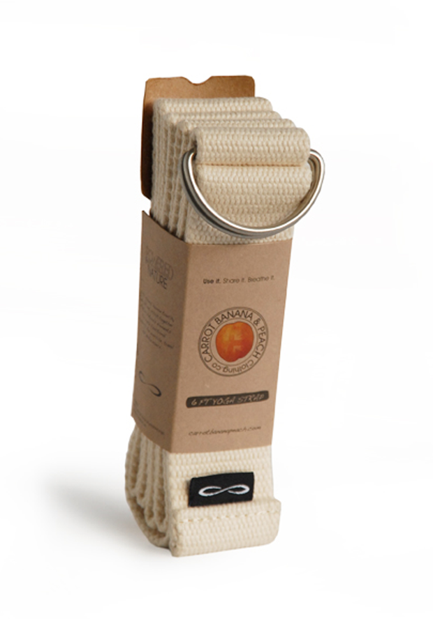 Organic Cotton Poplin Yoga Strap - CARROT BANANA PEACH