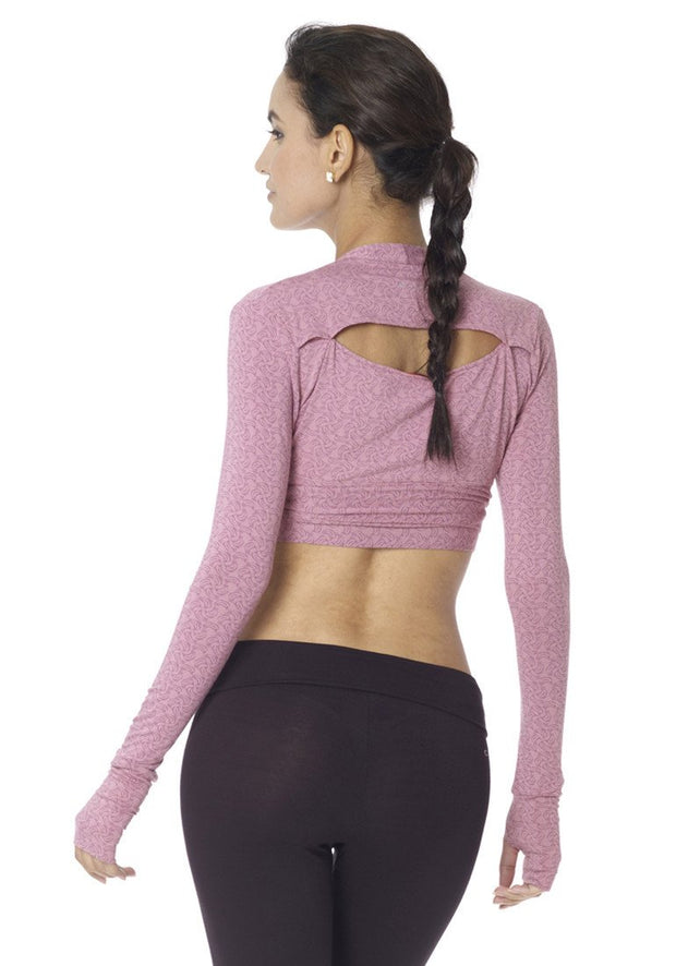 Banana Long Sleeve Cropped Wrap - CARROT BANANA PEACH