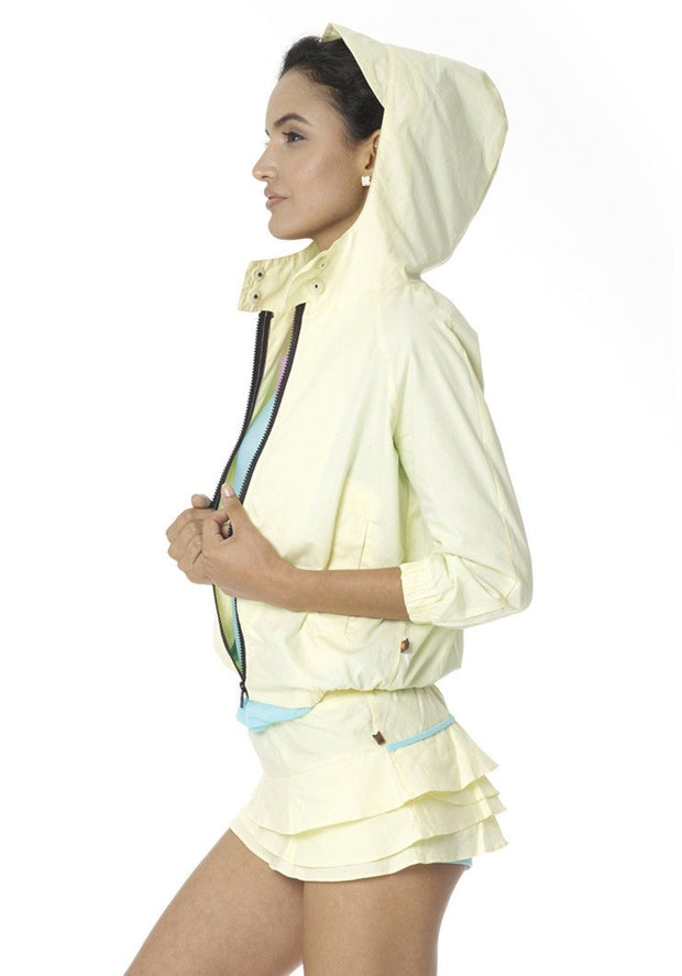 Organic Cotton Poplin 3/4 Sleeve Windbreaker - CARROT BANANA PEACH