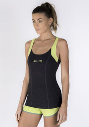 Graphite Heather Bamboo Tear Drop Motion Tank