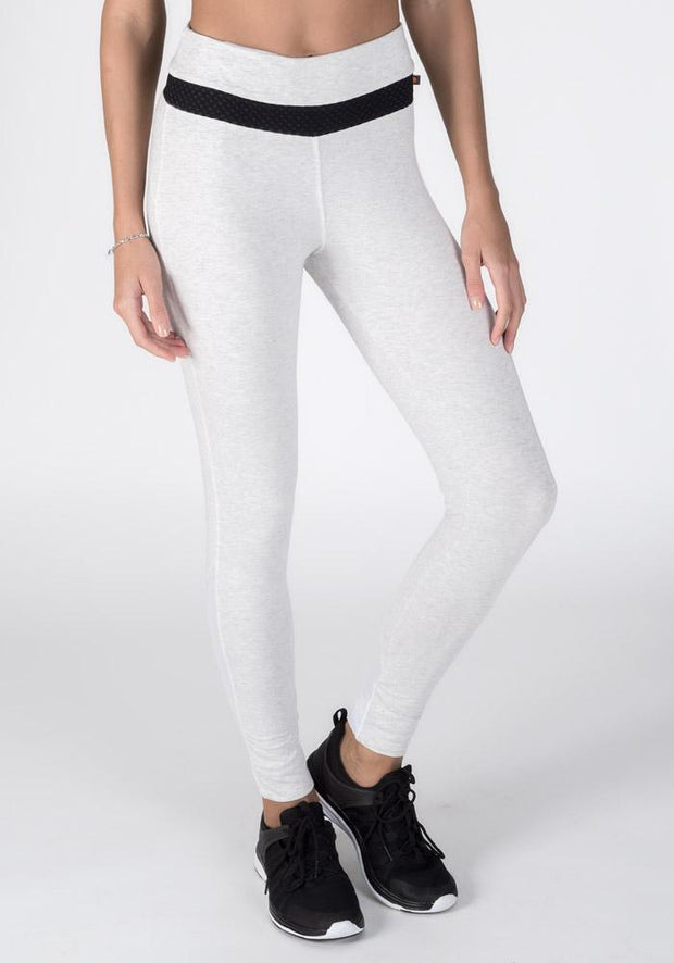 Light Ash Heather Bamboo Roll-Down Fitness Leggings