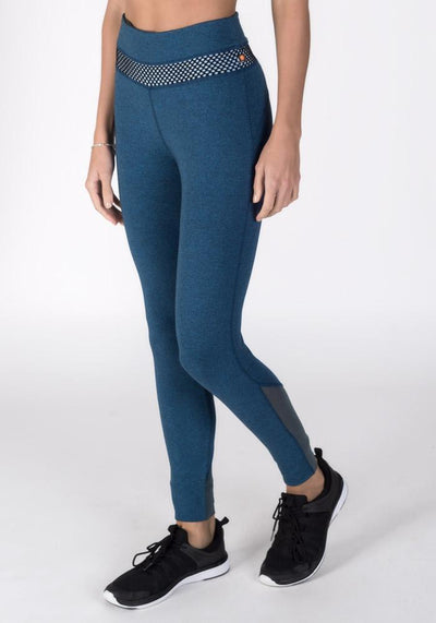 Navy Heather Bamboo Roll-Down Fitness Leggings