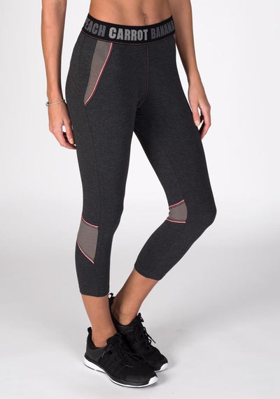 Bamboo Hipster Cropped Fitness Pant - CARROT BANANA PEACH