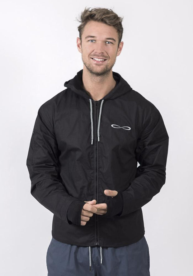 Black Organic Cotton Poplin Smart Running Jacket
