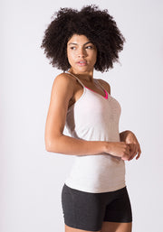 Bamboo Sweat prepped Cami Rouched Top - CARROT BANANA PEACH