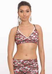 Carrot Banana Peach Bra XS / Cherry Camouflage Yoga Retreat Spa Bra