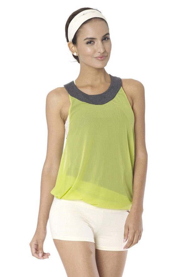 Clearance Items Tank XL / Seaweed & Lime Bamboo Reversible Mesh Tank
