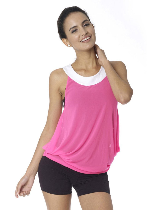 Clearance Items Tank XS / Hot Pink & Sugar Bamboo Reversible Mesh Tank