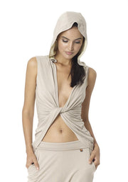 Clearance Items Wrap XS / Camel Soybean Hooded Sleeveless Butterfly