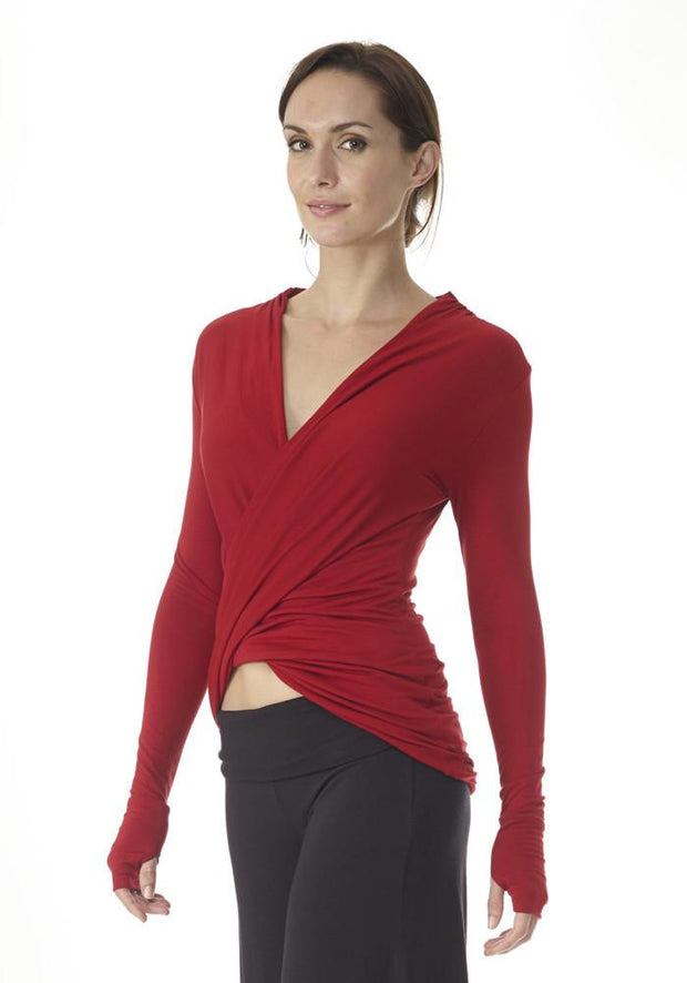 Clearance Items Wrap XS / Cranberry Yoga Retreat Long Sleeve Top