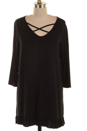 Criss Cross Neck Tunic in Black Plus sizes- Brand New