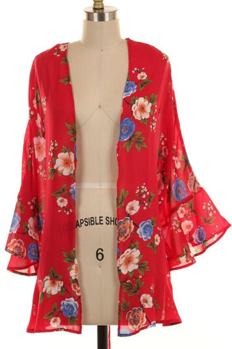 Red Floral Kimono Cardigan-Brand New