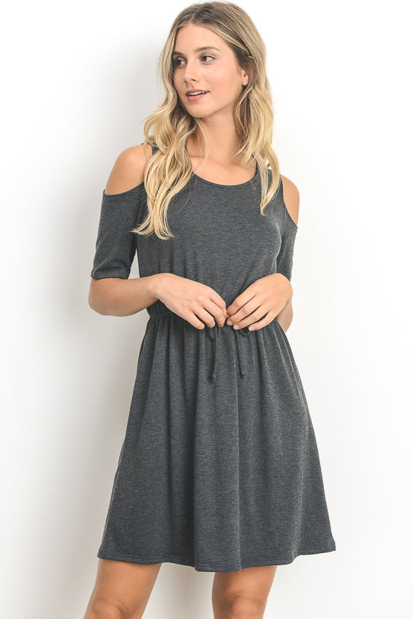 Gray Cold Shoulder Dress- Brand New