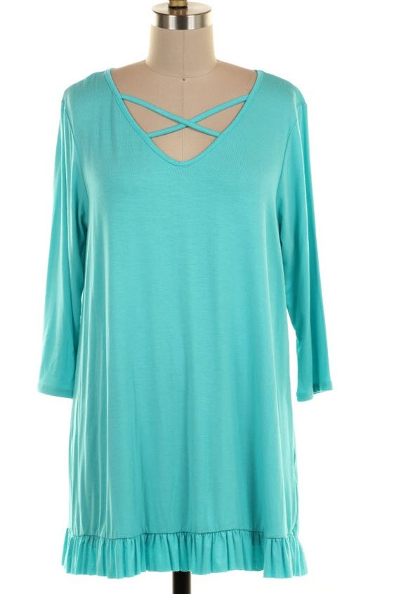 Criss Cross Neck Tunic in Aqua Plus sizes- Brand New