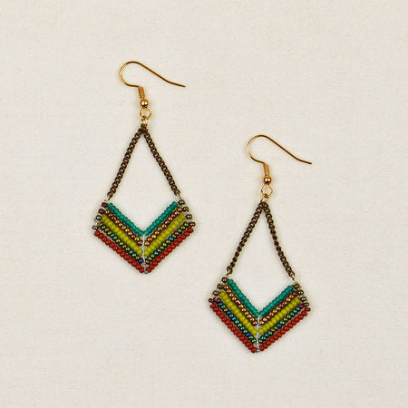 Beaded chevron chain earrings green