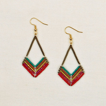 Beaded chevron chain earrings multicolor