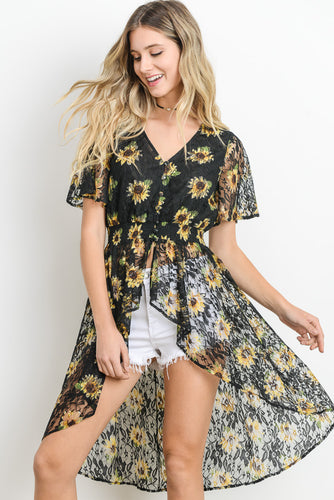 Sunflower print high low top-Brand New