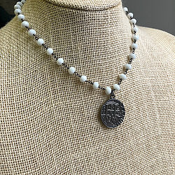 Beaded Necklace w/ Coin Charm